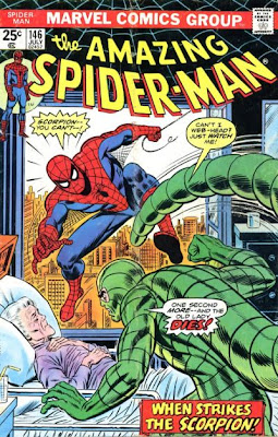 Amazing Spider-Man #146, the Scorpion threatens Aunt may as she lies in her hospital bed