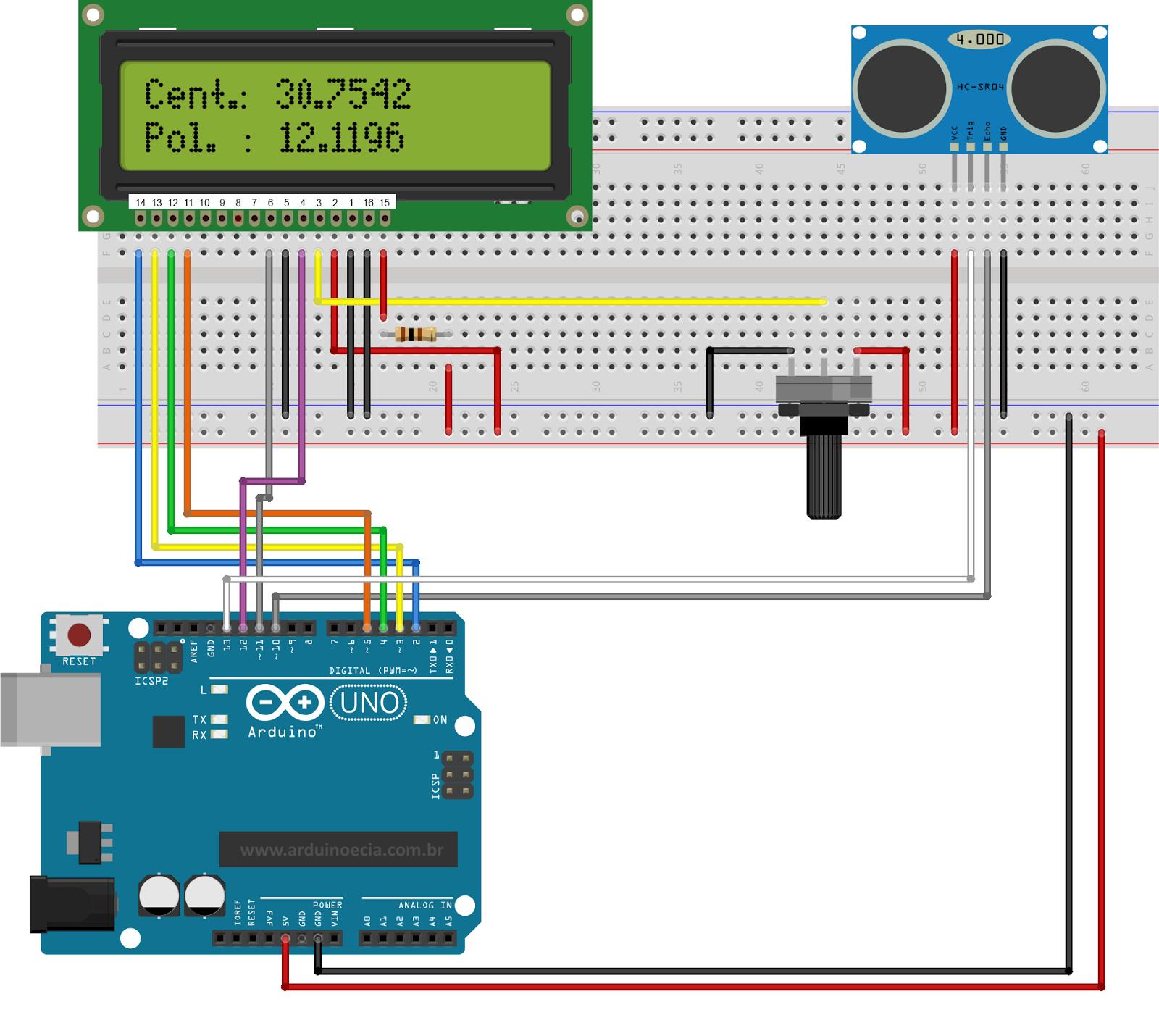 Medidor de dist ncia com o sensor ultrass nico hc sr04 - Medidor de distancia ...
