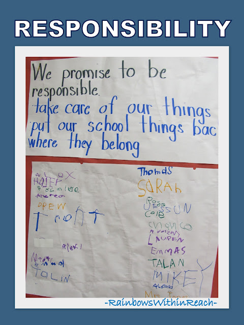 photo of: Kindergarten Promise of Responsibility on Bulletin Board