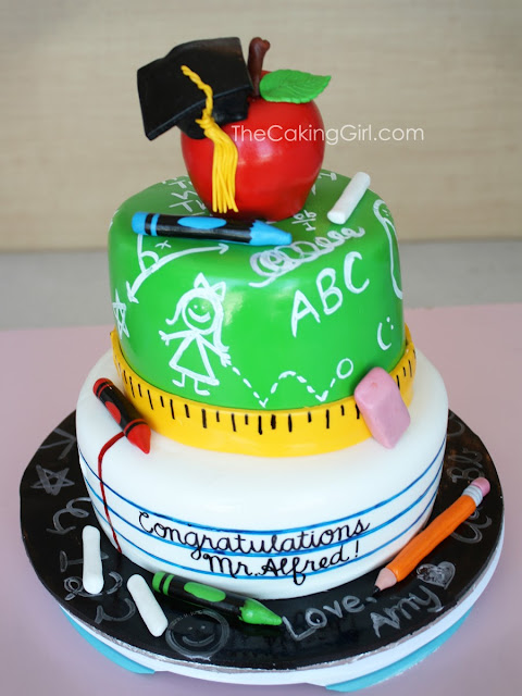 teacher theme cake, blackboard cake