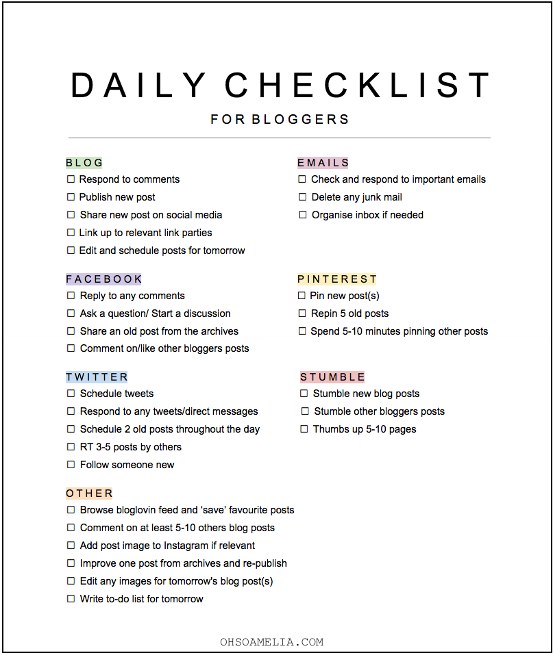 my daily blogging tasks free checklist oh so amelia