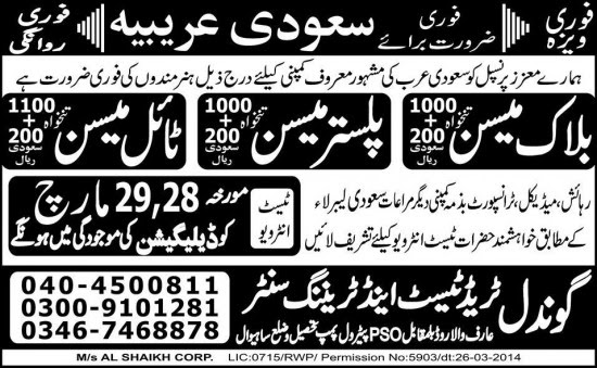 Latest Mason Jobs in Saudi Arabia