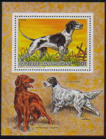 1986年中央アフリカ共和国 ポインター、イリッシュ・セター、イングリッシュ・セターの切手シート