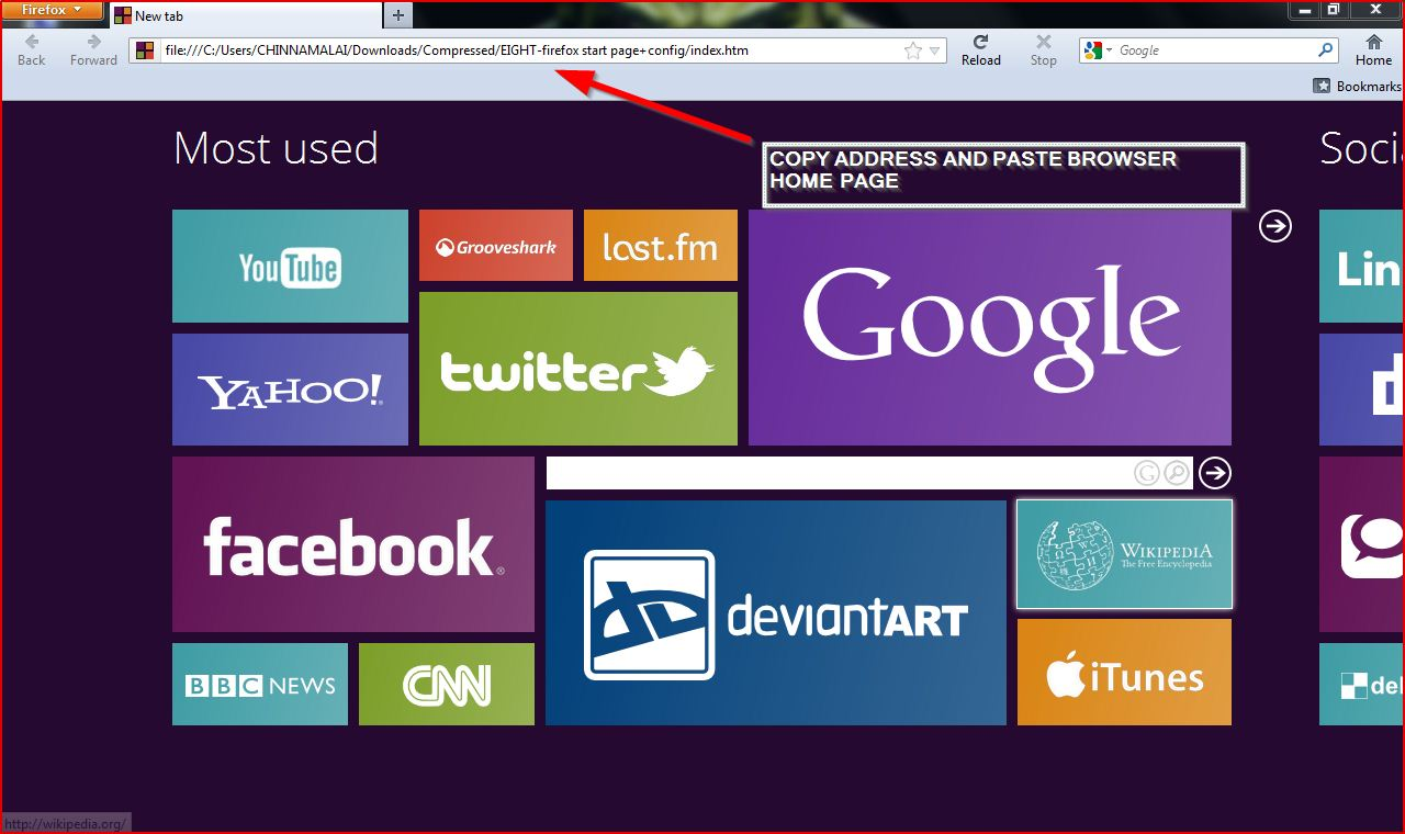 Set your browser home page windows8 crusatamil for Windows home page