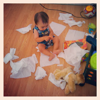 Baby and the Kleenex mess