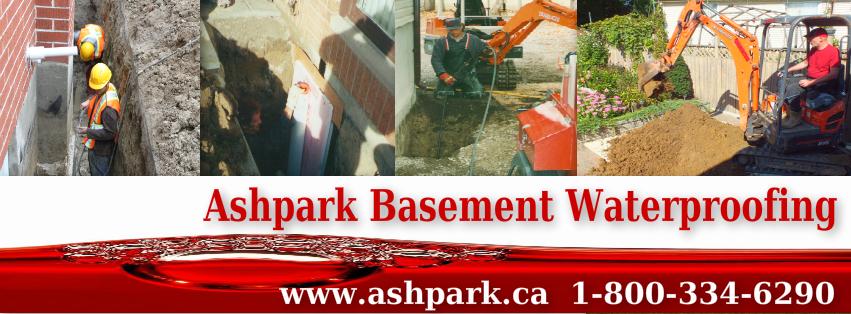 Ashpark Basement Waterproofing Contractors Ontario 1-800-334-6290