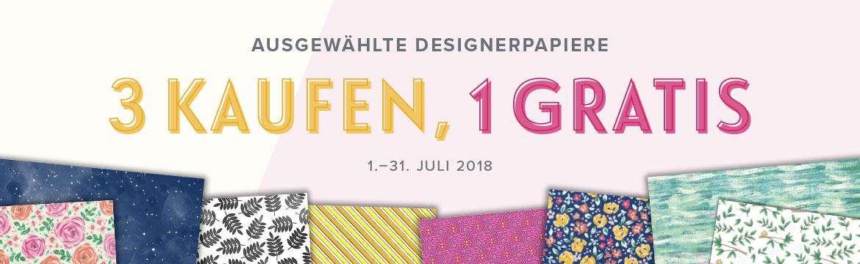 Designerpapieraktion im Juli bei Stampin' Up! Kaufe 3, bekomme 1 Gratis!