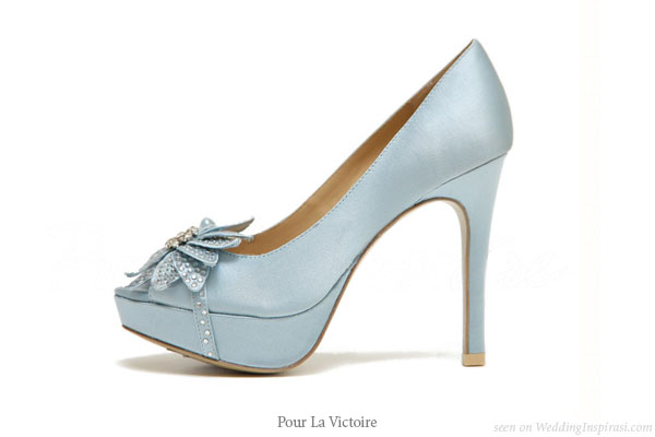 White Wedding Shoes With Blue Soles