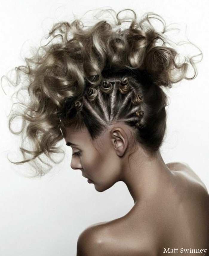 faux mohawk hairstyle, cornow braids