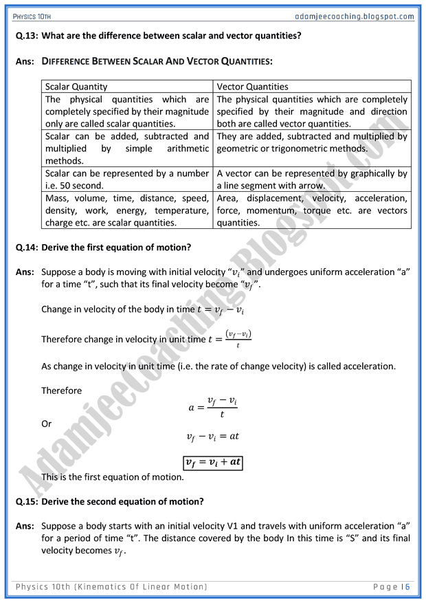 kinematics-of-linear-motion-question-answers-physics-10th