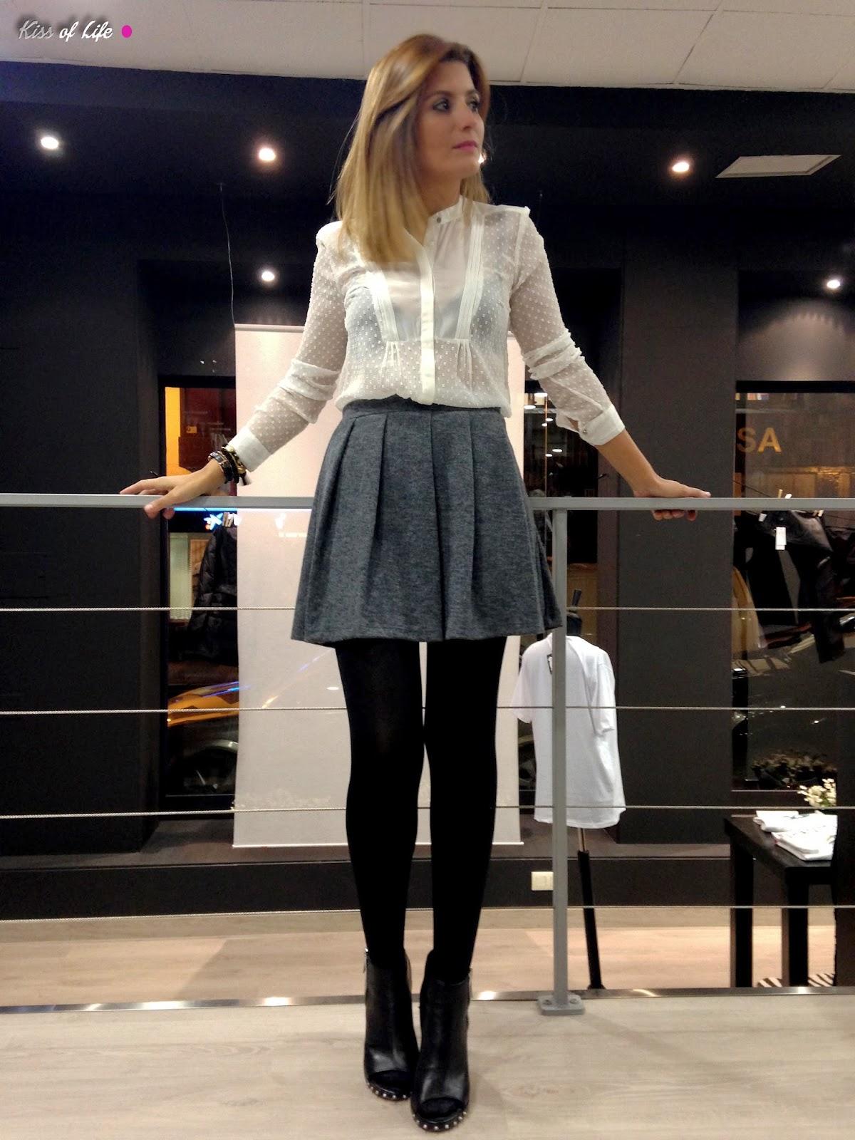 Outfits formales juveniles con falda - Combinaciones con gris ...