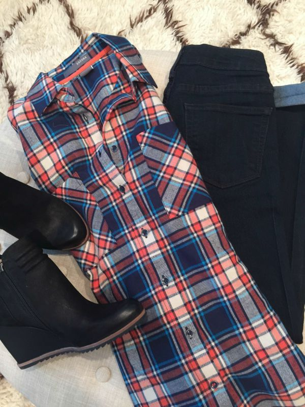 Fall Fashion - plaid boyfriend shirt, skinny jeans, wedge booties