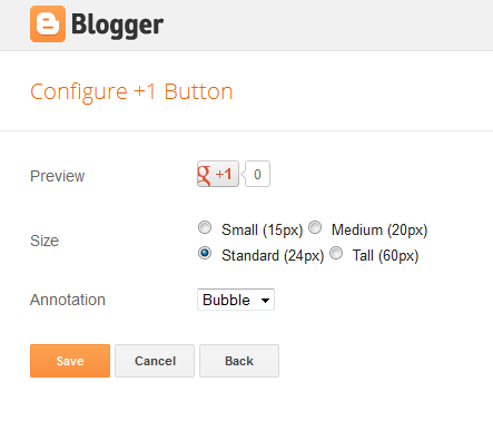configure Google+1 button