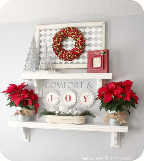 christmas decorating classic reds with modern patterns splashes of color - Christmas Shelf Decorations