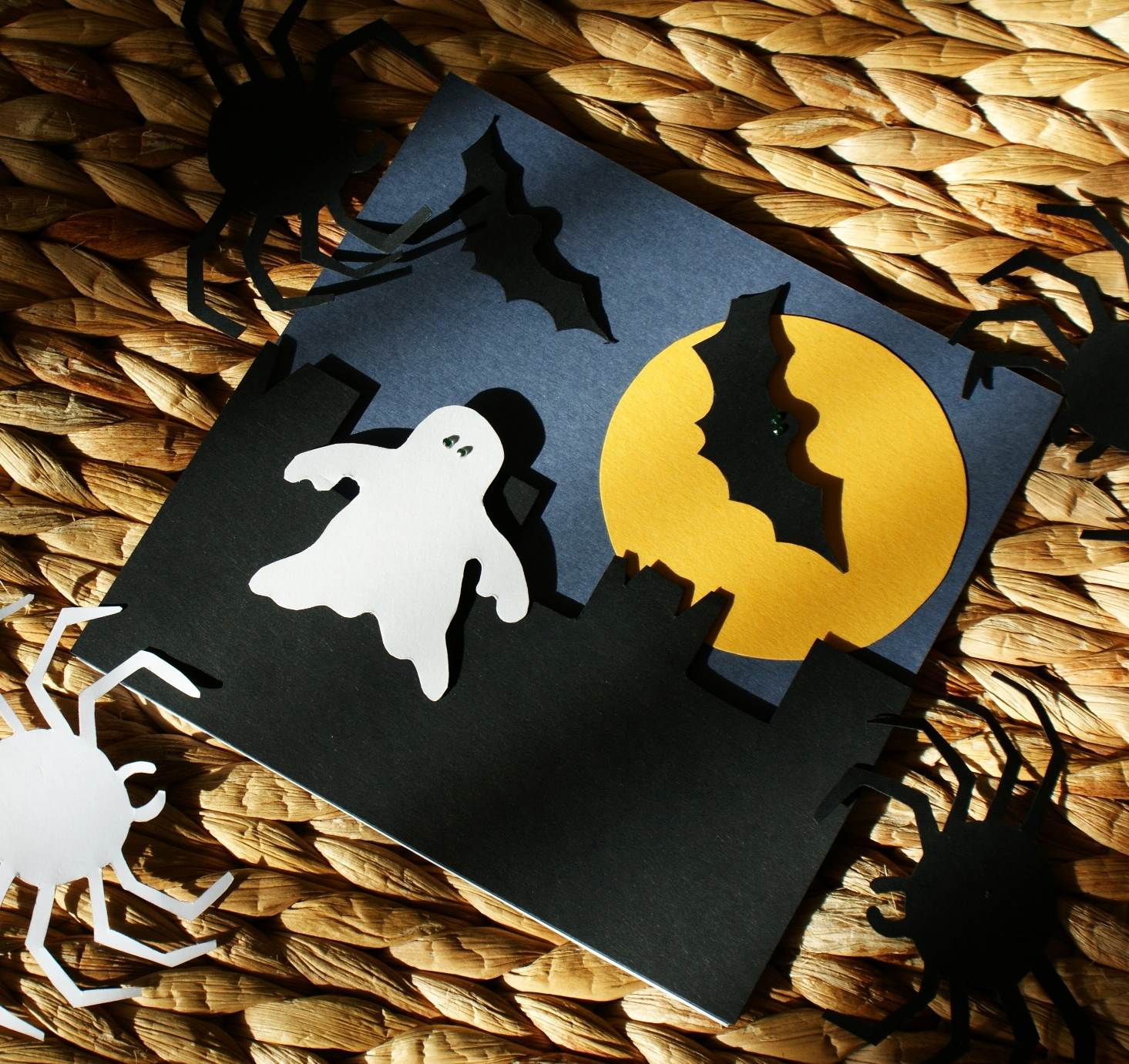craft magic handmade halloween cards ghost castle ruin bats