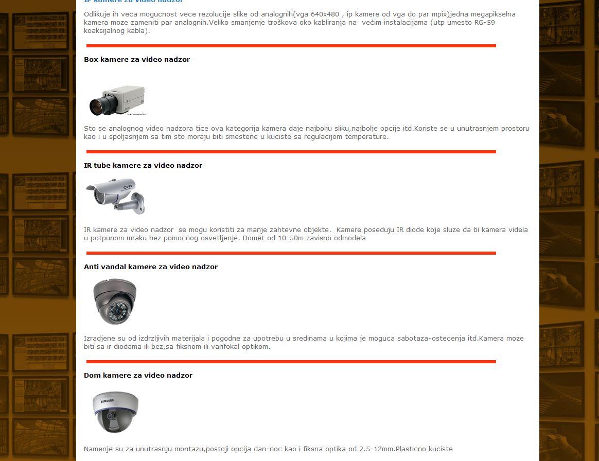 Tipovi kamera za video nadzor