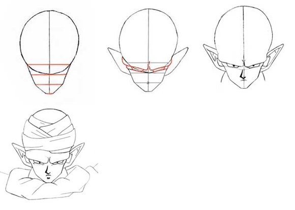 kentong how to draw dragon ball z piccolo head step by step