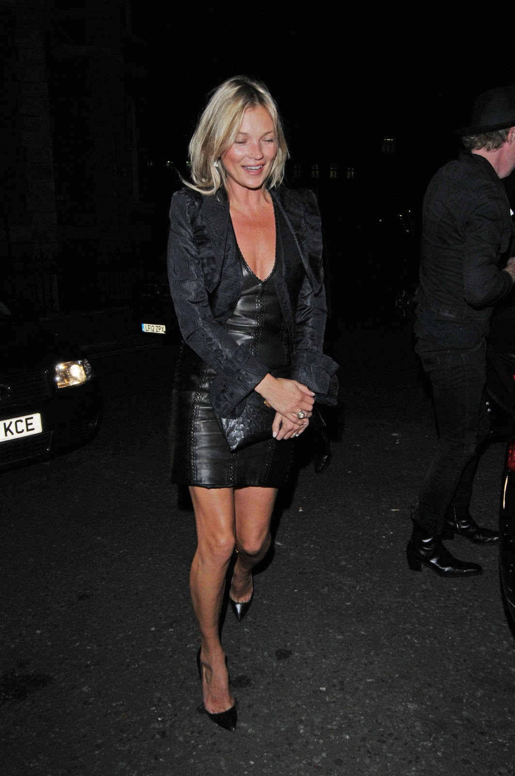 lovely in leather kate moss wearing a leather dress