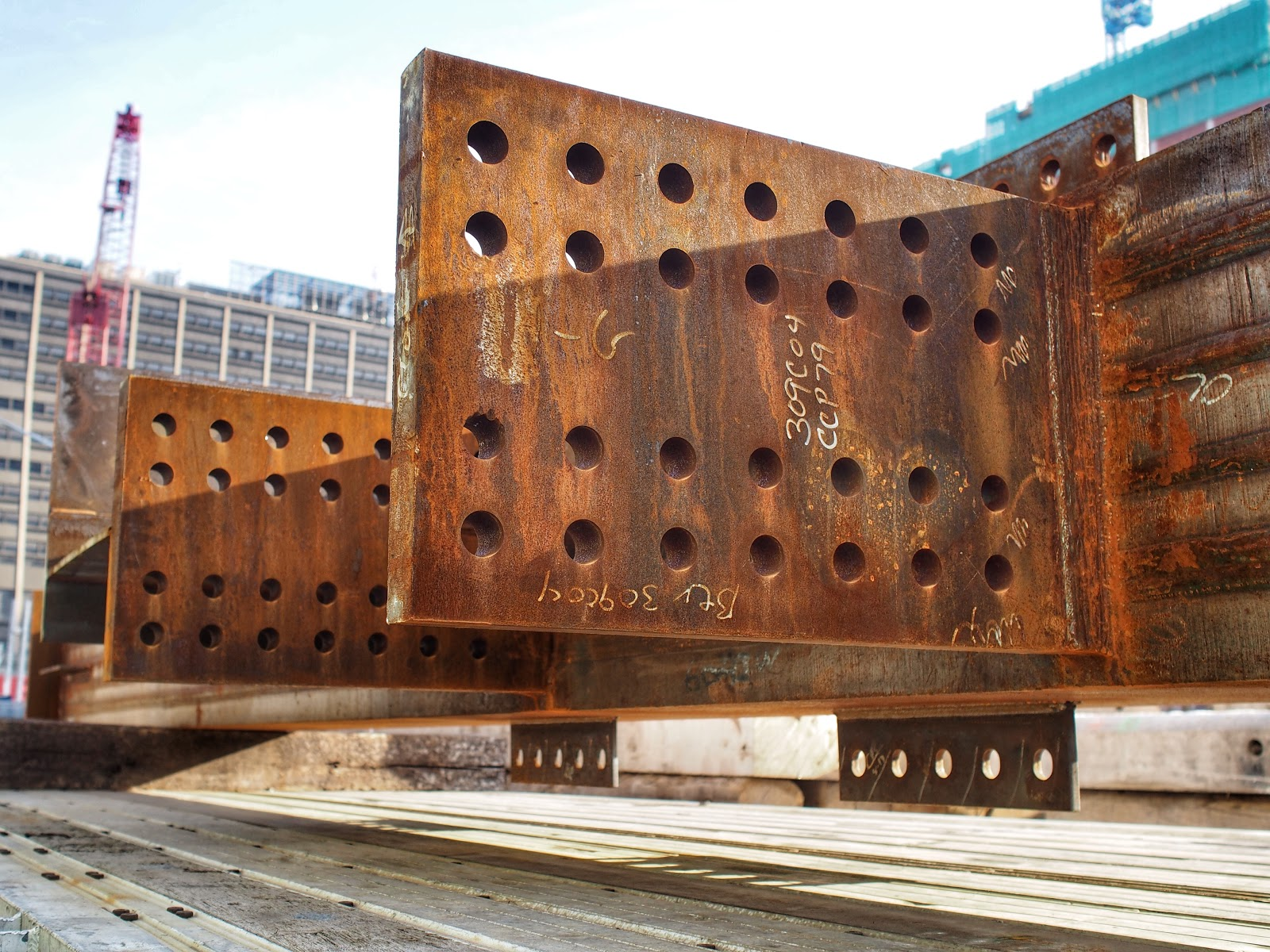 Rusted Angles #rustedangles  #construction #nyc #hudsonyards #steelplates #nails ©2014 Nancy Lundebjerg
