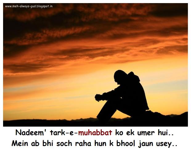 Nadeem' tark-e-muhabbat ko ek umer hui.. Mein ab bhi soch raha hun k bhool jaun usey..