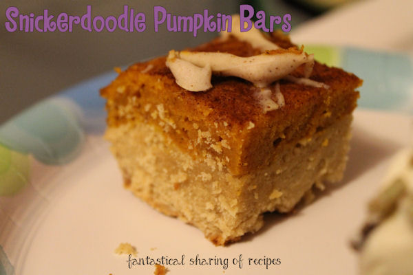 Snickerdoodle Pumpkin Bars - a layer of snickerdoodle cookie, topped with pumpkin, topped with cinnamon sugar, and drizzled with pumpkiny chocolate!