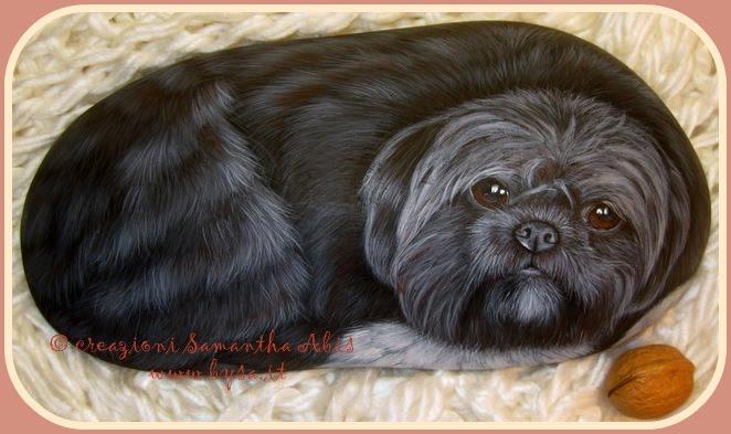 Ritratti di Cani su sassi di mare dipinti a mano