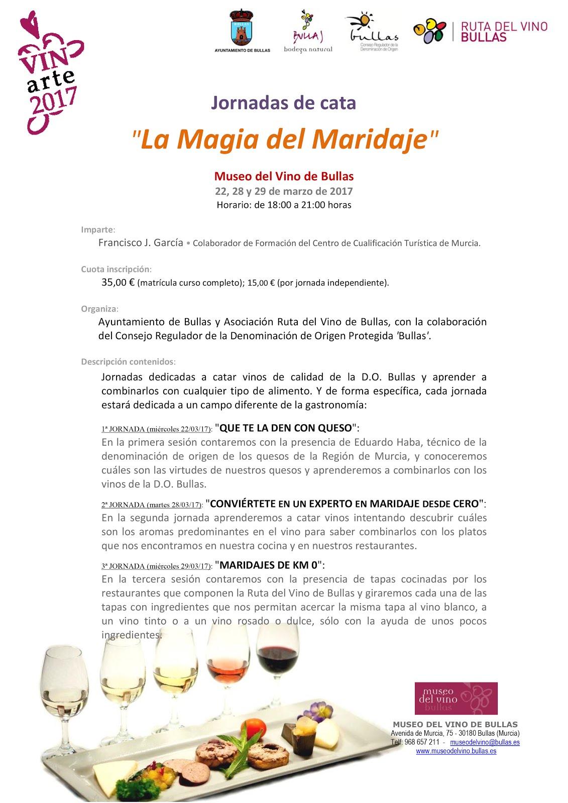 """Jornadas de cata """"La Magia del Maridaje"""" del Museo del Vino de Bullas"""