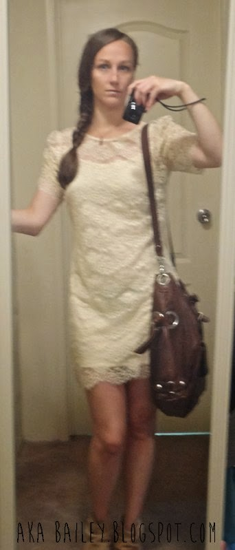 White lacy dress, beige booties, brown bag, fishtail braid