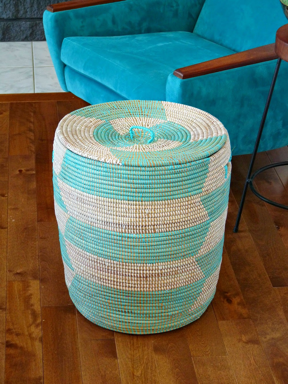 Turquoise Woven Storage Basket with Lid