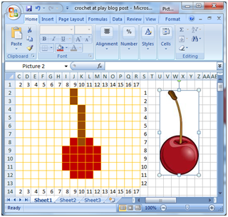 Crochet parfait making your own crochet or knitting charts the disadvantage to excel is you have to set up everything yourself and if you arent familiar with the program it can be a little tricky ccuart Image collections