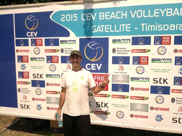 Maseur la turneul internaţional de volei CEV Beach Volleyball Satellite Timisoara 2015. Florin Chindea