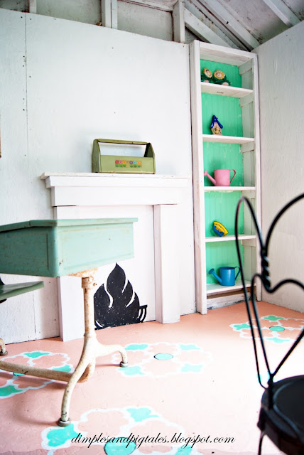 Vintage desk, painted floors and faux fireplace