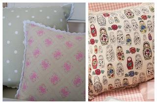 Almofadas de tecido com barrinha de crochê