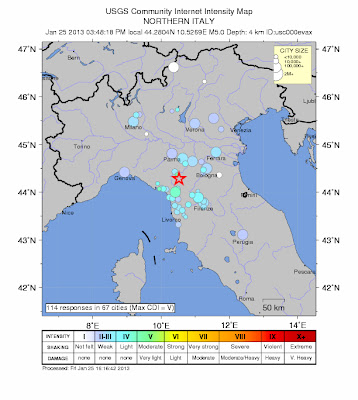 Epicentro sismo 5,0 grados, Italia, 25 de Enero de 2013