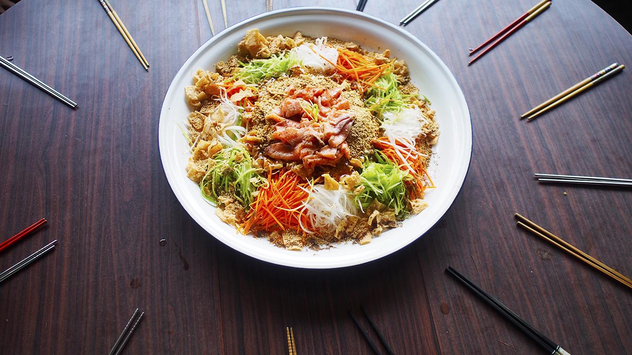 Chinese new year, lohei, yusheng, sashimi, singapore