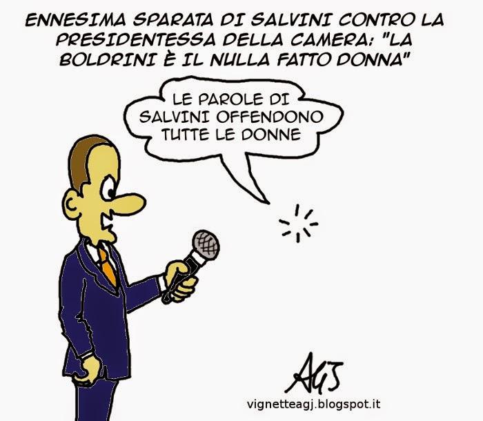 Salvini, Boldrini satira vignetta
