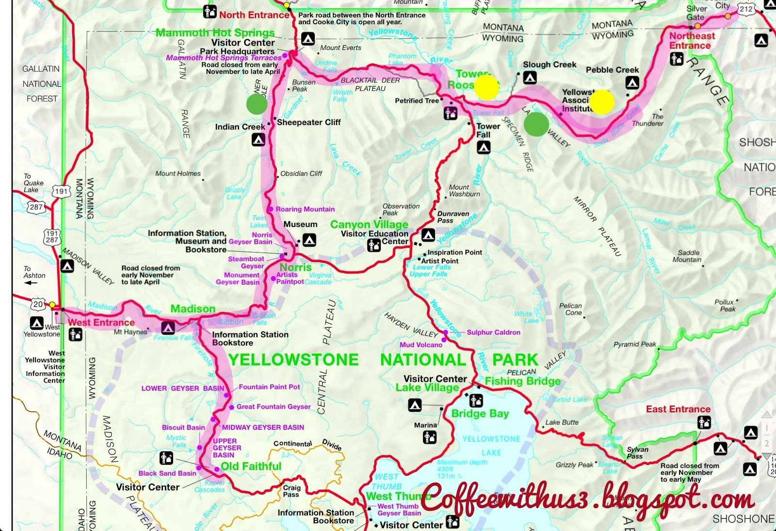 Anniversary Trip To Yellowstone Coffee With Us - Yellowstone map us