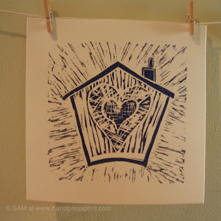 house of love, lino print, house, valentines, art