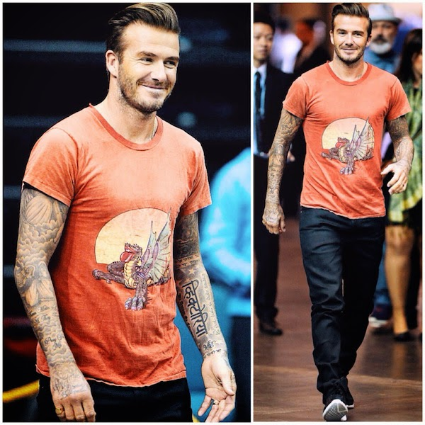 David Beckham wears orange dragon Rolling Stones 26 July 1978 Oakland tour t-shirt - Macau 9th November 2014