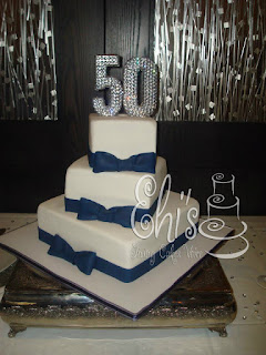3 Tier Navy Blue Bow Cake