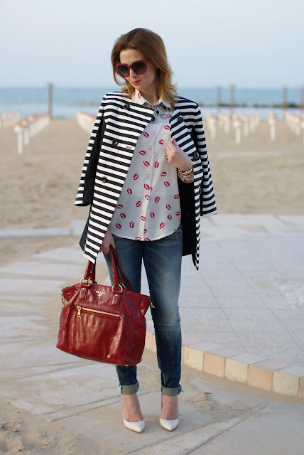 Striped coat, Prada bag, lips printed shirt, Fashion and Cookies