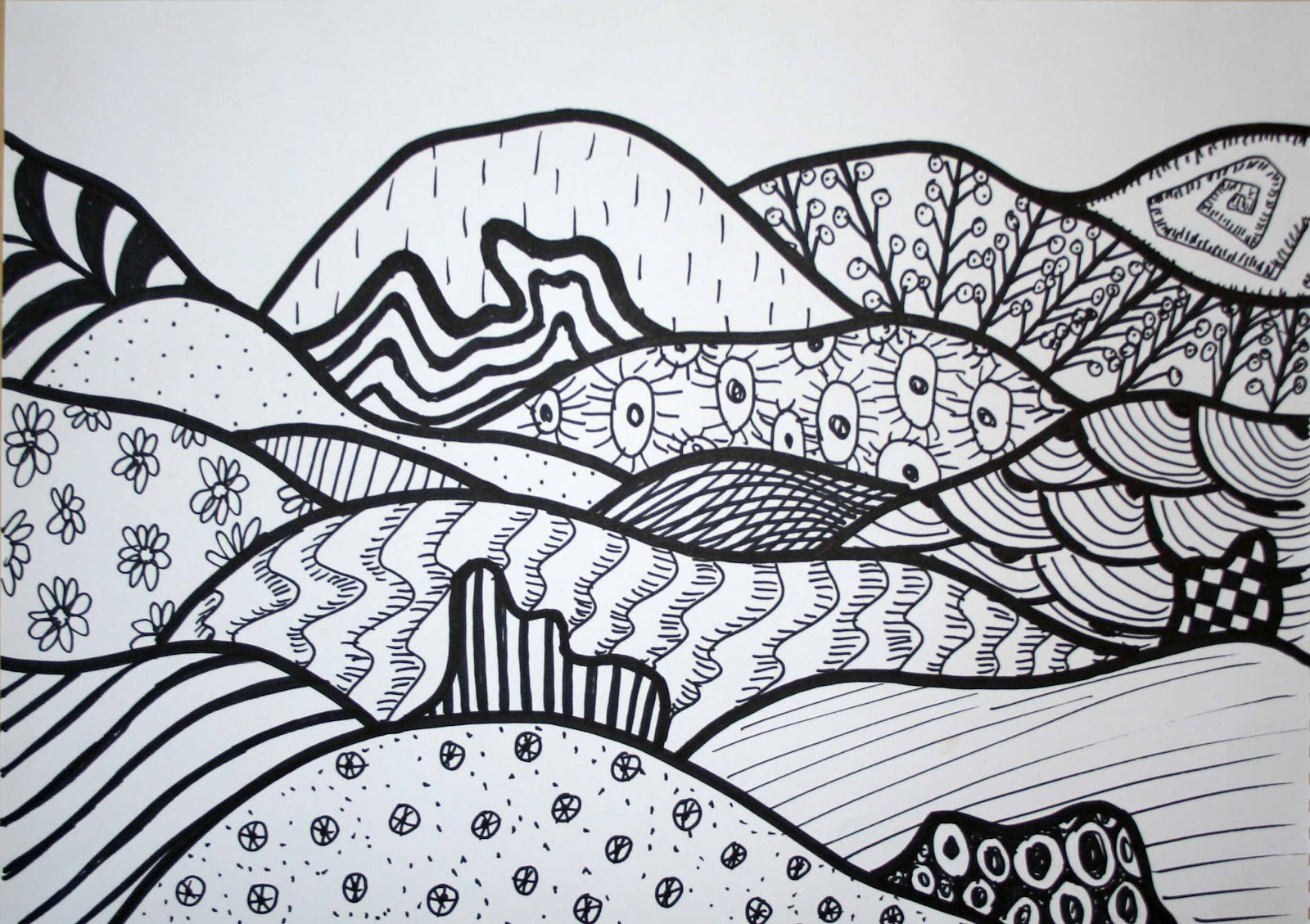 Drawing Using Different Lines : Creating and educating lines landscape