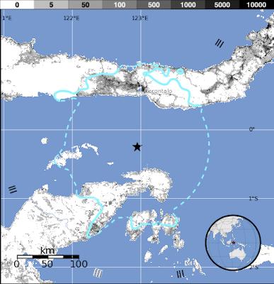 Epicentro sismo 5,6 grados, Sulawesi, Indonesia, 29 de Diciembre 2012