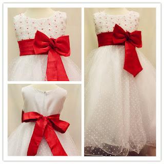 Mamibabyshopspot baby shop online children kids baby p096 white flower girl dress with red ribbon mightylinksfo