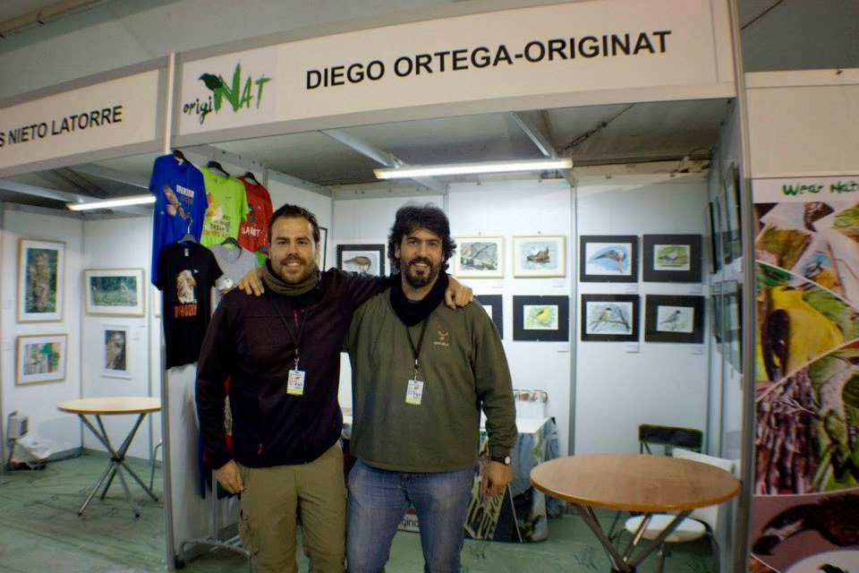stand FIO 2014 Diego Ortega Alonso OrigiNAT Wildlife art camisetas birding birdwatching