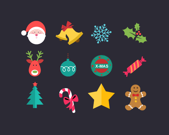 1. Set of Christmas Icons (PSD)