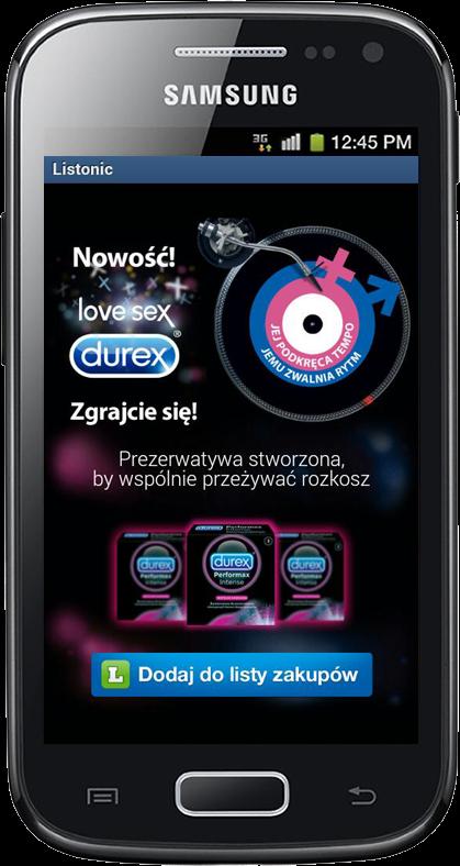 Durex w aplikacji Listonic