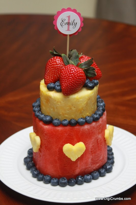 DigiCrumbs: Layered Watermelon Fruit Cake - First Birthday ...