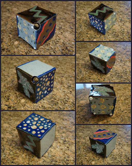 Colorful ceramic cube for a stoneware / pottery garden totem.