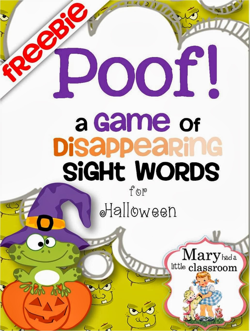 10 days of halloween centers for first grade day 7 poof a game of disappearing sight words